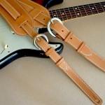 Original Plain & Vintage Plain model leather guitar straps, tan
